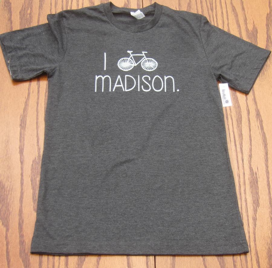 Rosymade men 39 s i bike madison t shirt fontana sports for T shirt printing madison wi