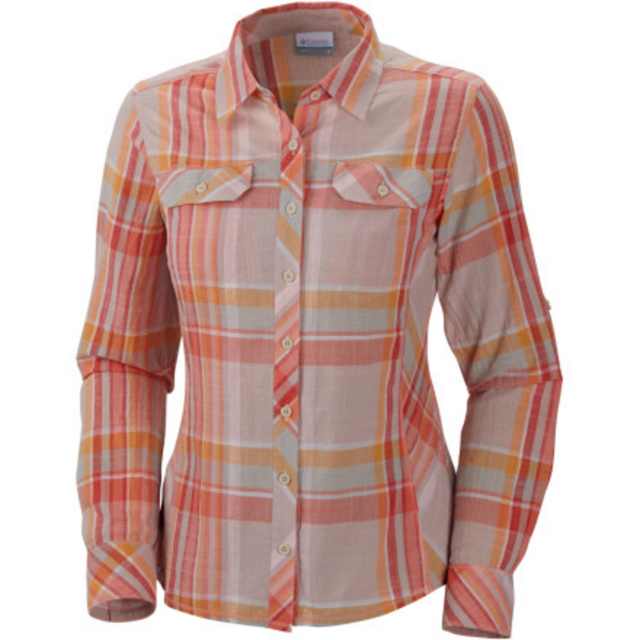 Hotcoralplaid for Women s long sleeve camp shirts