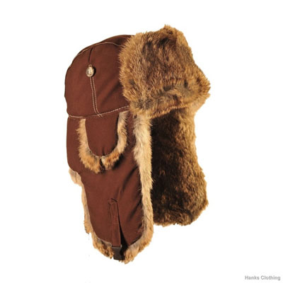 Supplex Bomber Hat with Brown Rabbit Fur