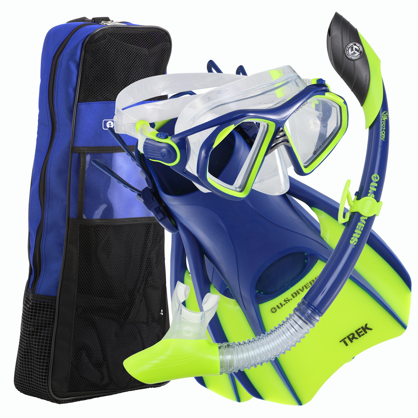 Us Divers Admiral LX Island Dry LX Trek Snorkel Set with Fins