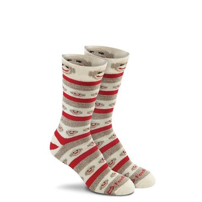 Red Heel Monkey Stripe Crew Socks