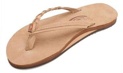 Flirty Braidy - Single Layer Premier Leather with Arch Support with a Braided St