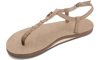 Rainbow Sandals T Street Single Layer Dark Brown Center Braid Ankle Strap