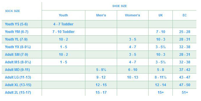 Size Chart for WIGWAM MILLS